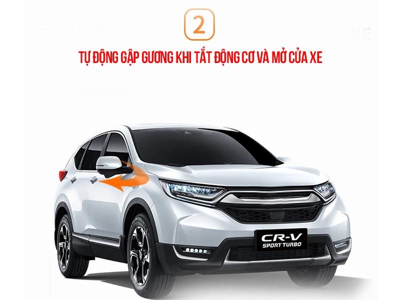 Hệ thống sẽ tự động gập cả 2 gương khi động cơ xe tắt và bất kì cửa xe nào được mở.
