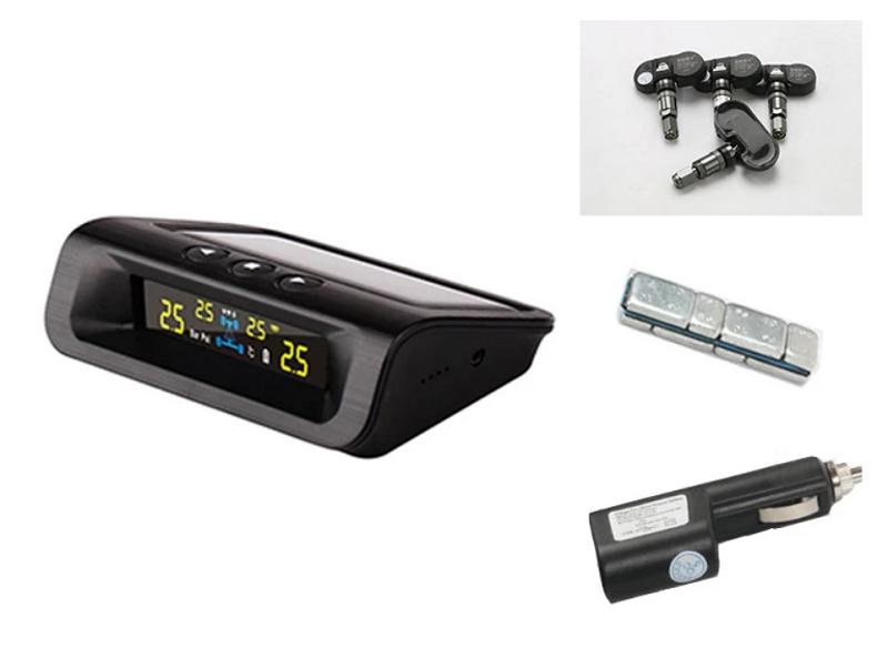Cận cảnh bộ cảm biến áp suất lốp TPMS với 4 van, màn hình hiển thị và các thiết bị theo kèm